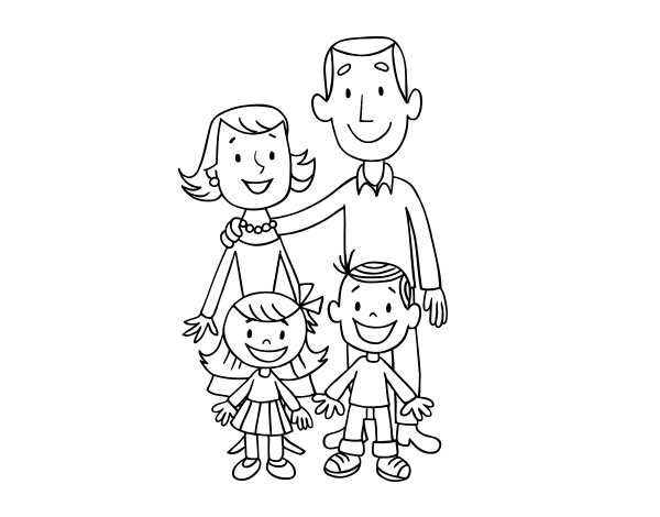 Dibujos De Familia Para Colorear E Imprimir: Dibujo De Una Familia Para Colorear