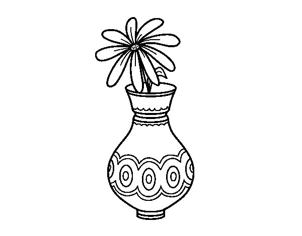 Dibujo de Una flor en un jarrón para Colorear