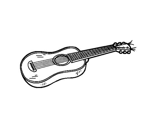 Dibujo de Una guitarra acústica para Colorear