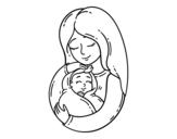 Dibujo de Una madre con su bebé para colorear