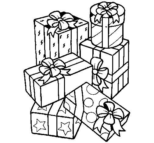 Dibujo de Una montaña de regalos para Colorear