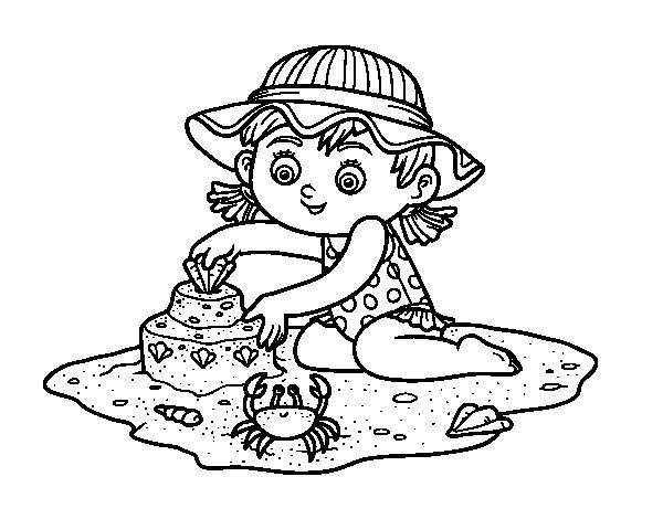 Dibujo Para Colorear De Niñas: Dibujo De Una Niña Jugando En La Playa Para Colorear