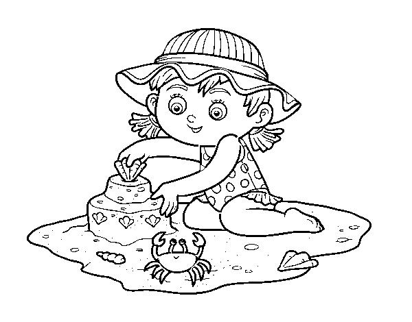 dibujo de una ni u00f1a jugando en la playa para colorear