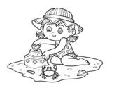 Dibujo de Una niña jugando en la playa para colorear
