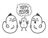 Dibujo de Unas gallinas de Pascua para colorear