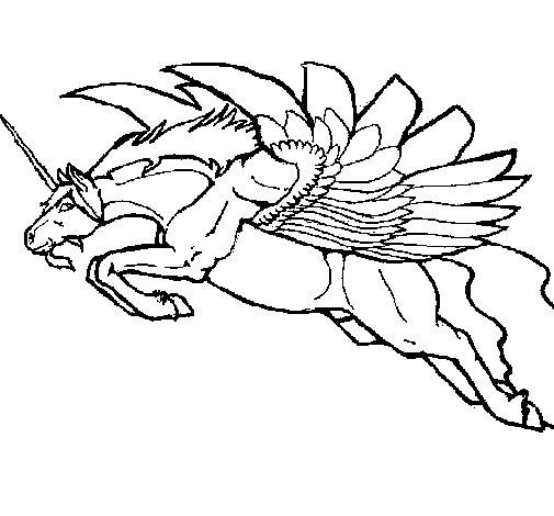 Dibujo de Unicornio alado para Colorear