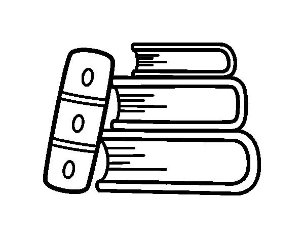 Dibujos Para Colorear De Libro Y Libreta: Dibujo De Unos Libros Para Colorear