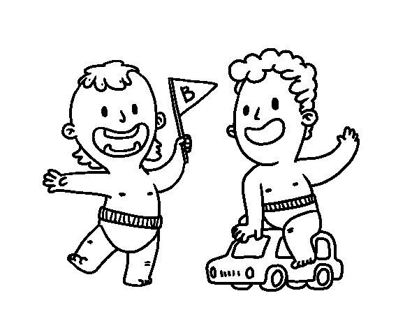Dibujo De Unos Niños Jugando Para Colorear