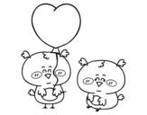Dibujo de Unos pajaritos enamorados para colorear