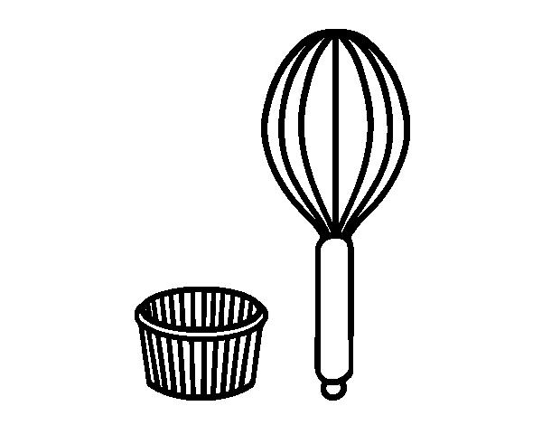 Dibujo de utensilios de pastelero para colorear - Utensilios de cocina para pintar ...