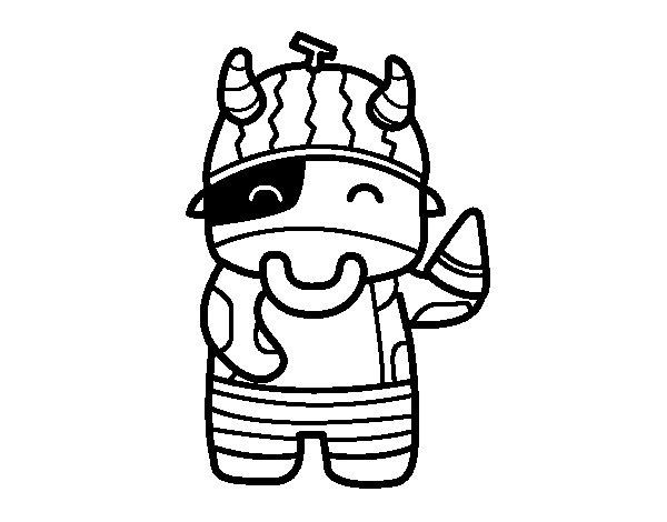 Dibujo de Vaca comiendo sanda para Colorear  Dibujosnet