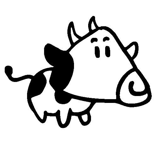 Dibujo de Vaca con cabeza triangular para Colorear