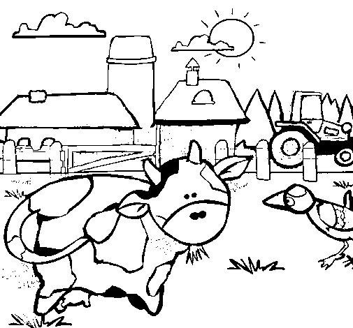 Dibujo de Vaca en la granja para Colorear