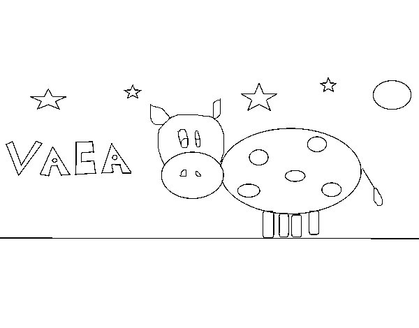 Dibujo de Vaca y estrellas para Colorear