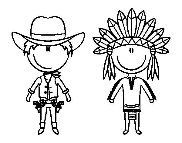 Dibujo de Vaquero e indio contentos para Colorear