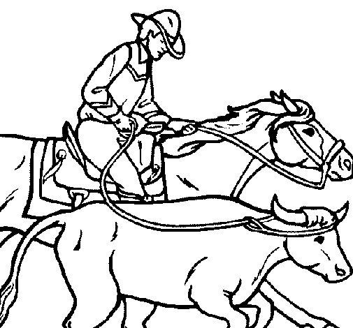 Dibujo de Vaquero y vaca para Colorear