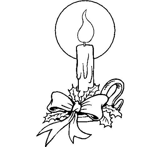 Dibujo de Vela de navidad 3 para Colorear