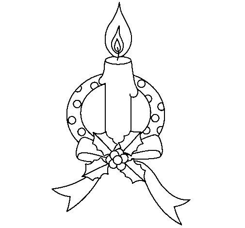 Dibujo de Vela de navidad III para Colorear