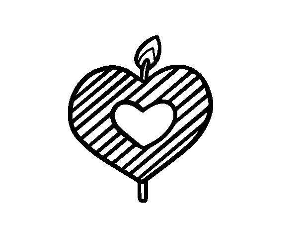 Dibujo de Vela en forma de corazón para Colorear