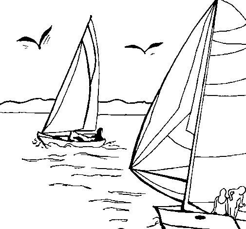 Dibujo de Velas en alta mar para Colorear