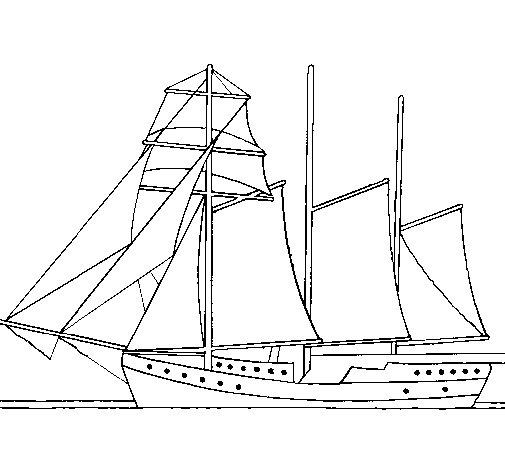 Dibujo de Velero de tres mástiles para Colorear