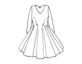 Dibujo de Vestido con falda de vuelo