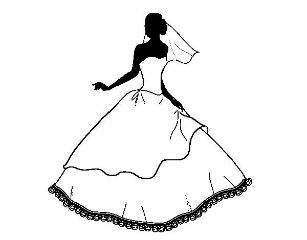 Dibujo de Vestido de boda para Colorear
