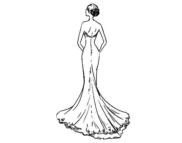 Dibujo de Vestido de boda con cola para Colorear