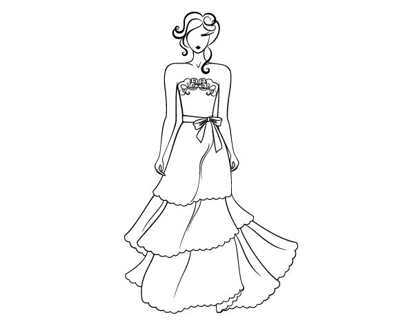 Dibujos De Ropa Para Colorear E Imprimir: Dibujo De Vestido De Boda Palabra De Honor Para Colorear