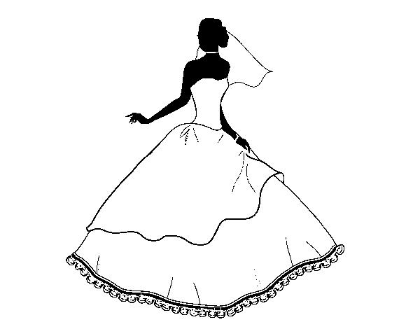Dibujos De Vestidos Para Colorear E Imprimir: Dibujo De Vestido De Boda Para Colorear