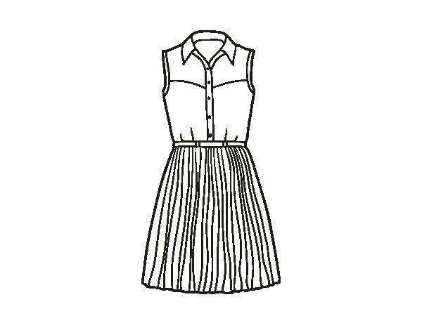 Dibujos De Vestidos Para Colorear E Imprimir: Dibujo De Vestido Tejano Para Colorear