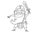 Dibujo de Vikingo al ataque para colorear