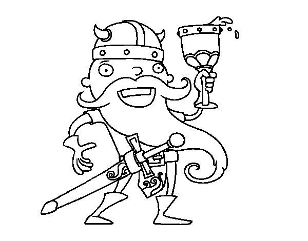 Dibujo de Vikingo celebrando para Colorear