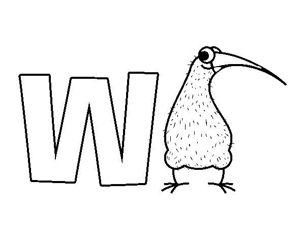 Dibujo de W de Kiwi para Colorear