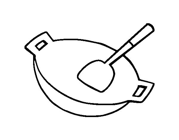 Dibujo de wok para colorear - Dibujos de cocina para pintar ...