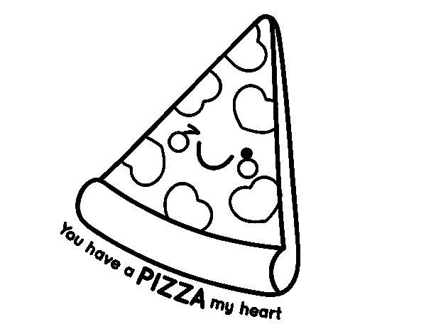 Dibujo de You have a pizza my heart para Colorear