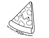 Dibujo de You have a pizza my heart para colorear