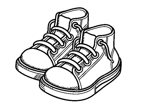 Dibujo de Zapatillas de niño para Colorear - Dibujos.net