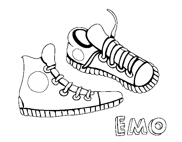 Dibujo de Zapatillas para Colorear  Dibujosnet