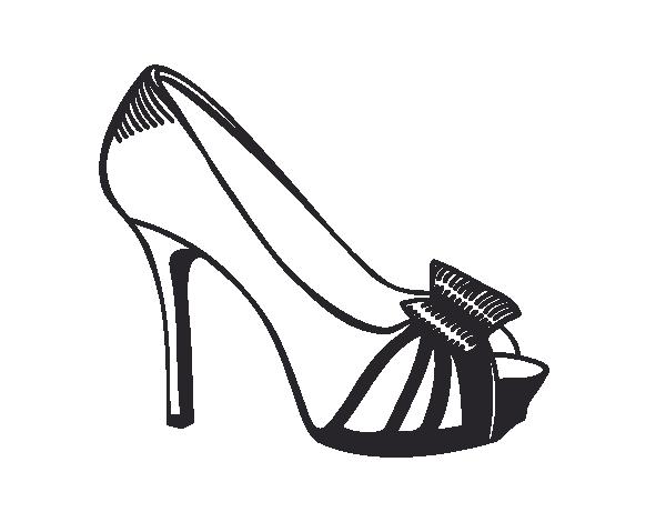 Dibujo de Zapato de plataforma con lazo para Colorear  Dibujosnet