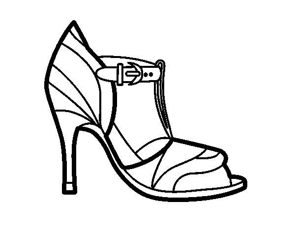 Dibujo de Zapato de tacón con punta destapada para Colorear