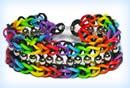 Pulsera de gomitas escalera arcoiris con cuentas enmedio