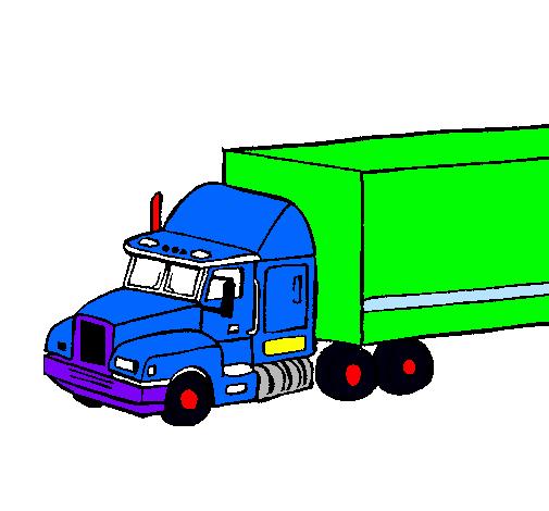 Dibujo De Camión Tráiler Pintado Por Hernan En Dibujosnet