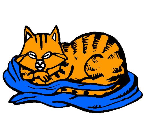 Dibujo De Gato En Su Cama Pintado Por Garfield En Dibujosnet El Día