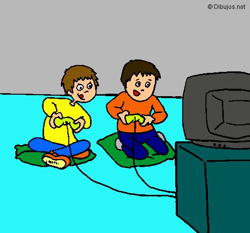 Dibujo De Ninos Jugando Pintado Por Videojuegos En Dibujos Net El