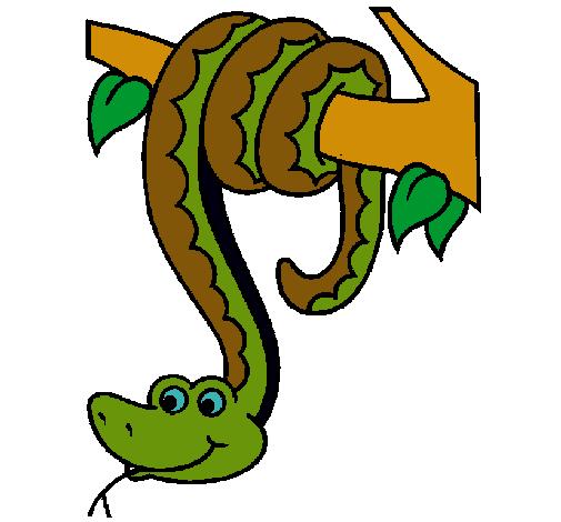 dibujo de serpiente colgada de un árbol pintado por culebra en