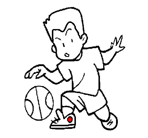 Dibujo de Niño botando la pelota pintado por Baloncesto en Dibujos ...