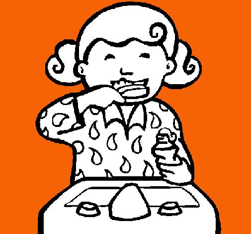 Dibujo De Niña Cepillándose Los Dientes Pintado Por Pilcar07 En