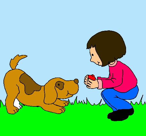 Dibujo De Nina Y Perro Jugando Pintado Por Akel4 En Dibujos Net El