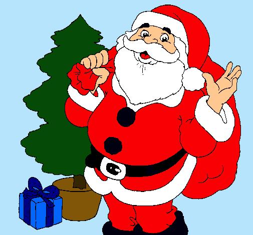 Dibujo de navidad a color papa noel